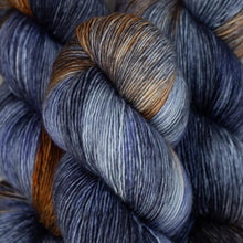 Load image into Gallery viewer, Skein of Madelinetosh A.S.A.P. Super Bulky weight yarn in the color Antique Moonstone (Gray) for knitting and crocheting.
