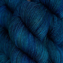 Load image into Gallery viewer, Skein of Madelinetosh A.S.A.P. Super Bulky weight yarn in the color Bluesteau (Blue) for knitting and crocheting.