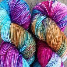 Load image into Gallery viewer, Skein of Madelinetosh A.S.A.P. Super Bulky weight yarn in the color Cotton Candy Daydreams (Multi) for knitting and crocheting.