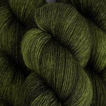 Load image into Gallery viewer, Skein of Madelinetosh A.S.A.P. Super Bulky weight yarn in the color Joshua Tree (Green) for knitting and crocheting.