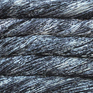 Skein of Malabrigo Arroyo Sport weight yarn in the color Pleiades (Black) for knitting and crocheting.