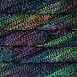 Skein of Malabrigo Arroyo Sport weight yarn in the color Secret (Green) for knitting and crocheting.