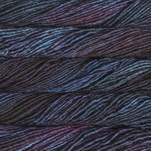 Load image into Gallery viewer, Skein of Malabrigo Mecha Bulky weight yarn in the color Whales Road (Purple) for knitting and crocheting.