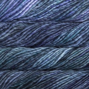 Skein of Malabrigo Rasta Super Bulky weight yarn in the color Azules (Blue) for knitting and crocheting.