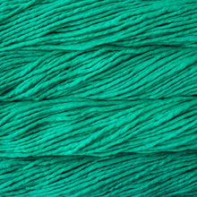 Load image into Gallery viewer, Skein of Malabrigo Rasta Super Bulky weight yarn in the color Bahamas Green (Green) for knitting and crocheting.