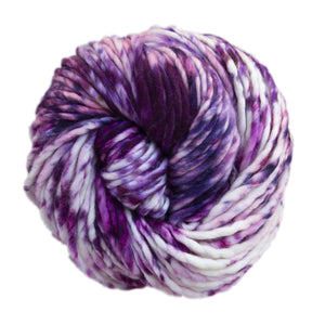 Skein of Malabrigo Rasta Super Bulky weight yarn in the color Blueberry Cream (Purple) for knitting and crocheting.