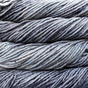 Skein of Malabrigo Rasta Super Bulky weight yarn in the color Cape Cod Gray (Gray) for knitting and crocheting.