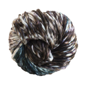 Skein of Malabrigo Rasta Super Bulky weight yarn in the color Carousel (Black) for knitting and crocheting.