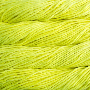 Skein of Malabrigo Rasta Super Bulky weight yarn in the color Fluo (Yellow) for knitting and crocheting.