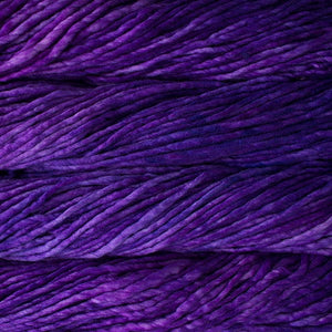 Skein of Malabrigo Rasta Super Bulky weight yarn in the color Jacinto (Purple) for knitting and crocheting.