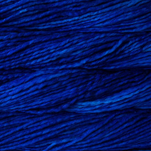 Skein of Malabrigo Rasta Super Bulky weight yarn in the color Matisse Blue (Blue) for knitting and crocheting.