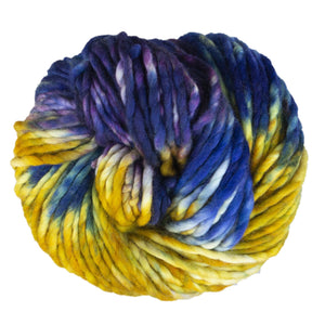 Skein of Malabrigo Rasta Super Bulky weight yarn in the color Pensamiento (Yellow) for knitting and crocheting.
