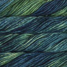 Load image into Gallery viewer, Skein of Malabrigo Rasta Super Bulky weight yarn in the color Solis (Green and Blue) for knitting and crocheting.