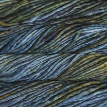Load image into Gallery viewer, Skein of Malabrigo Rasta Super Bulky weight yarn in the color Verde Azul (Green and Blue) for knitting and crocheting.
