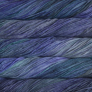 Skein of Malabrigo Rios Worsted weight yarn in the color Azules (Blue) for knitting and crocheting.