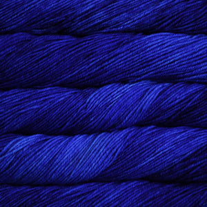 Skein of Malabrigo Rios Worsted weight yarn in the color Matisse Blue (Blue) for knitting and crocheting.