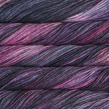 Load image into Gallery viewer, Skein of Malabrigo Rios Worsted weight yarn in the color Purpuras (Purple) for knitting and crocheting.