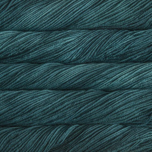 Skein of Malabrigo Rios Worsted weight yarn in the color Teal Feather (Blue) for knitting and crocheting.