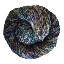 Load image into Gallery viewer, Skein of Malabrigo Sock Sock weight yarn in the color Carnival (Purple) for knitting and crocheting.