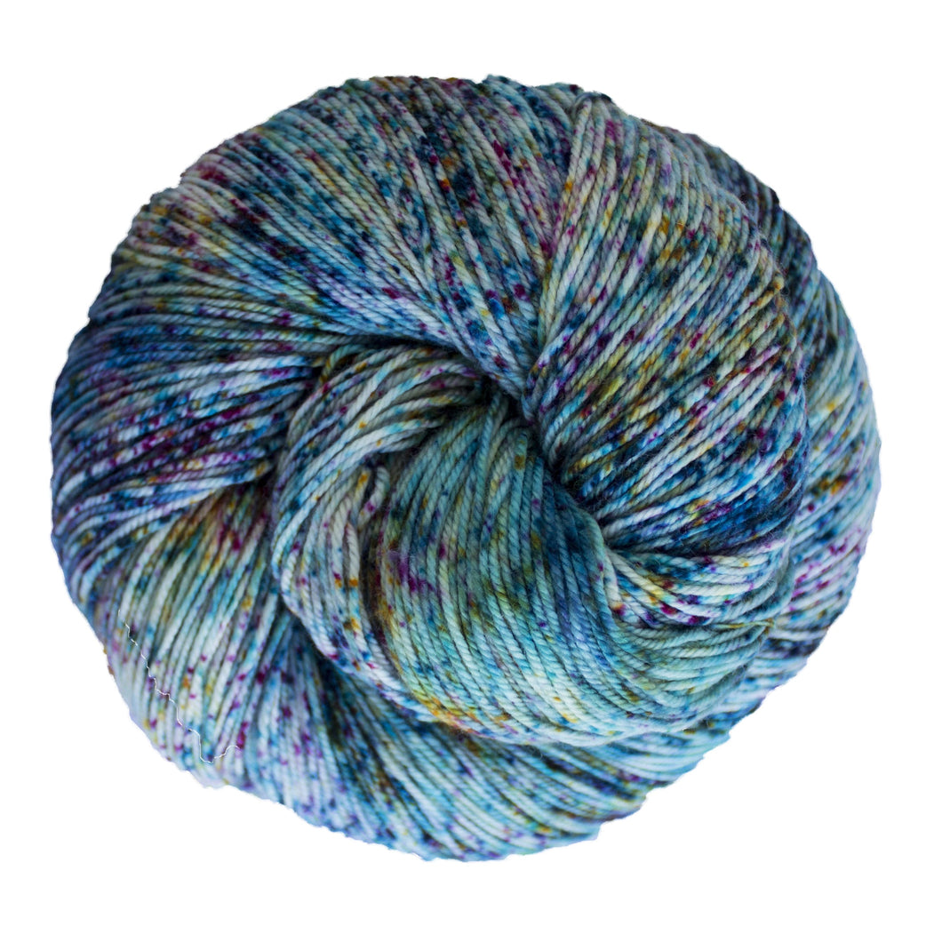 Skein of Malabrigo Sock Sock weight yarn in the color Parade (Blue) for knitting and crocheting.