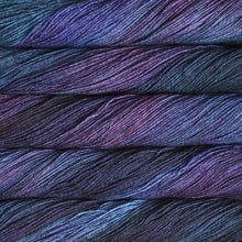 Load image into Gallery viewer, Skein of Malabrigo Sock Sock weight yarn in the color Whales Road (Purple) for knitting and crocheting.