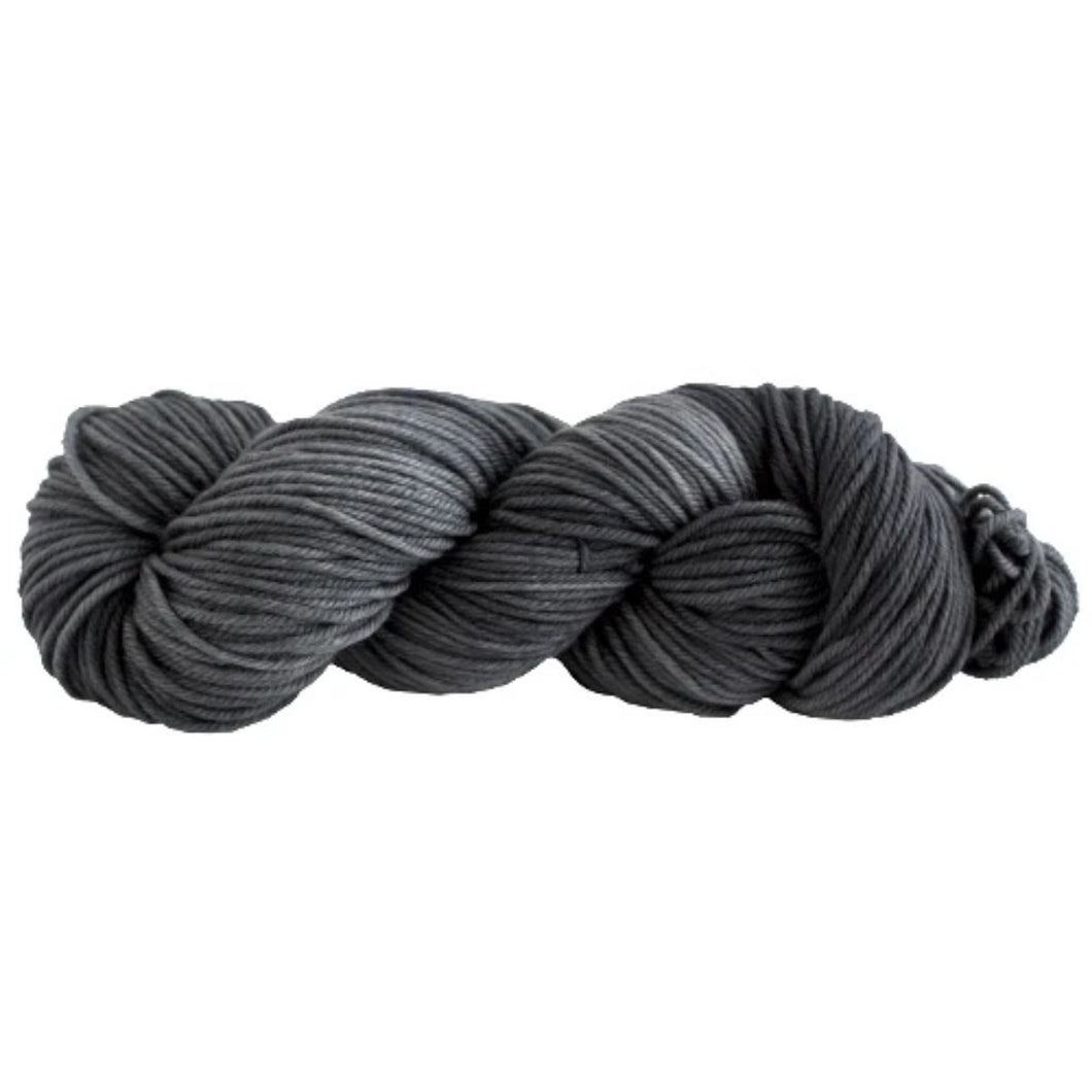 Skein of Manos del Uruguay Alegria Grande Worsted weight yarn in the color Kohl (Gray) for knitting and crocheting.