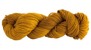 Skein of Manos del Uruguay Alegria Grande Worsted weight yarn in the color Turmeric (Yellow) for knitting and crocheting.