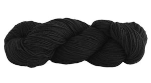 Skein of Manos del Uruguay Alegria Sock weight yarn in the color Black (Black) for knitting and crocheting.