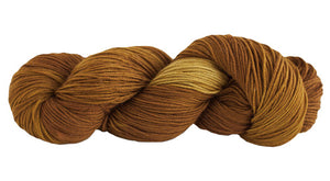 Skein of Manos del Uruguay Alegria Sock weight yarn in the color Leo (Brown) for knitting and crocheting.