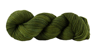 Skein of Manos del Uruguay Alegria Sock weight yarn in the color Olive (Green) for knitting and crocheting.