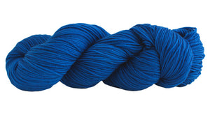 Skein of Manos del Uruguay Alegria Sock weight yarn in the color Royal (Blue) for knitting and crocheting.