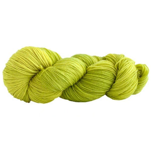 Skein of Manos del Uruguay Alegria Sock weight yarn in the color Spirulina (Green) for knitting and crocheting