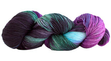 Load image into Gallery viewer, Skein of Manos del Uruguay Alegria Space-Dyed Sock weight yarn in the color Agave (Purple) for knitting and crocheting.