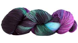 Skein of Manos del Uruguay Alegria Space-Dyed Sock weight yarn in the color Agave (Purple) for knitting and crocheting.