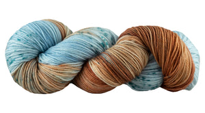 Skein of Manos del Uruguay Alegria Space-Dyed Sock weight yarn in the color Colorado River (Blue) for knitting and crocheting.