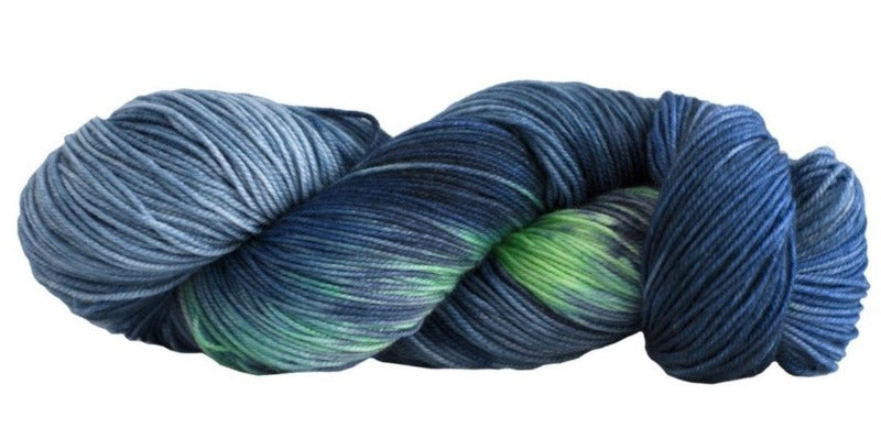 Skein of Manos del Uruguay Alegria Space-Dyed Sock weight yarn in the color Fondo del Mar (Blue) for knitting and crocheting.