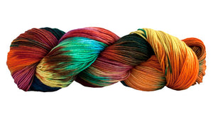 Skein of Manos del Uruguay Alegria Space-Dyed Sock weight yarn in the color Huarache (Multi) for knitting and crocheting.