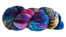 Load image into Gallery viewer, Skein of Manos del Uruguay Alegria Space-Dyed Sock weight yarn in the color Manglar (Blue) for knitting and crocheting.