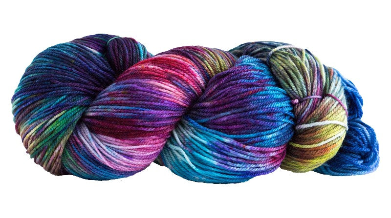 Skein of Manos del Uruguay Alegria Space-Dyed Sock weight yarn in the color Manglar (Blue) for knitting and crocheting.