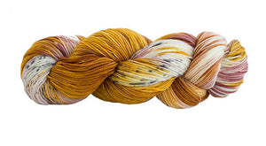 Skein of Manos del Uruguay Alegria Space-Dyed Sock weight yarn in the color Peach and Chia (Yellow) for knitting and crocheting.
