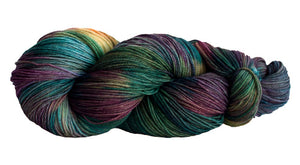 Skein of Manos del Uruguay Alegria Space-Dyed Sock weight yarn in the color Pindo (Green) for knitting and crocheting.
