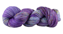 Load image into Gallery viewer, Skein of Manos del Uruguay Alegria Space-Dyed Sock weight yarn in the color Sari (Purple) for knitting and crocheting.