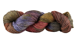 Skein of Manos del Uruguay Feliz Space-Dyed Sport weight yarn in the color Autumn (Red) for knitting and crocheting.