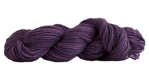 Skein of Manos del Uruguay Silk Blend DK weight yarn in the color Countess Violet (Purple) for knitting and crocheting.