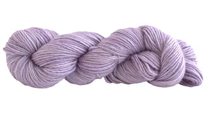Skein of Manos del Uruguay Silk Blend DK weight yarn in the color Malva (Purple) for knitting and crocheting.
