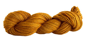 Skein of Manos del Uruguay Silk Blend DK weight yarn in the color Topaz (Yellow) for knitting and crocheting.