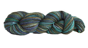 Skein of Manos del Uruguay Silk Blend Space-Dyed DK weight yarn in the color Deep Sea (Green) for knitting and crocheting.