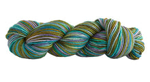 Load image into Gallery viewer, Skein of Manos del Uruguay Silk Blend Space-Dyed DK weight yarn in the color Mermaid (Green) for knitting and crocheting.