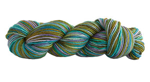 Skein of Manos del Uruguay Silk Blend Space-Dyed DK weight yarn in the color Mermaid (Green) for knitting and crocheting.