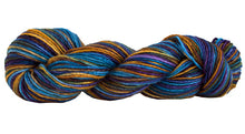 Load image into Gallery viewer, Skein of Manos del Uruguay Silk Blend Space-Dyed DK weight yarn in the color Stellar (Blue) for knitting and crocheting.